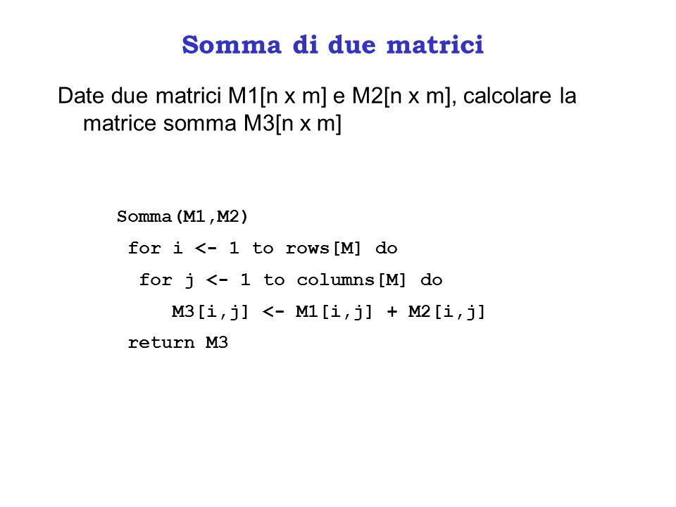 Somma di due matrici Date due matrici M1[n x m] e M2[n x m], calcolare la matrice somma M3[n x m] Somma(M1,M2)